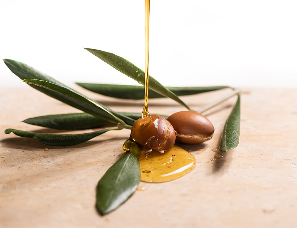 A drizzle of argan oil used in shampoos and treatments