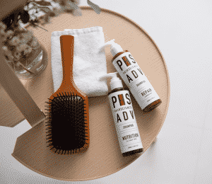 Wooden comb with PHS HAIR SCIENCE Double Cleanse