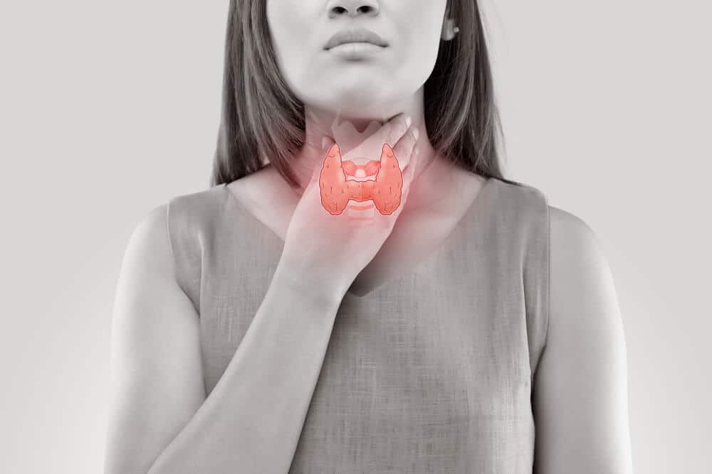 Woman with bad thyroid glands