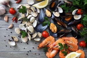 various seafood on a table
