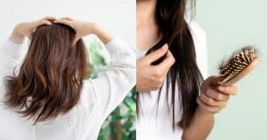 Woman scratch hair and holding comb